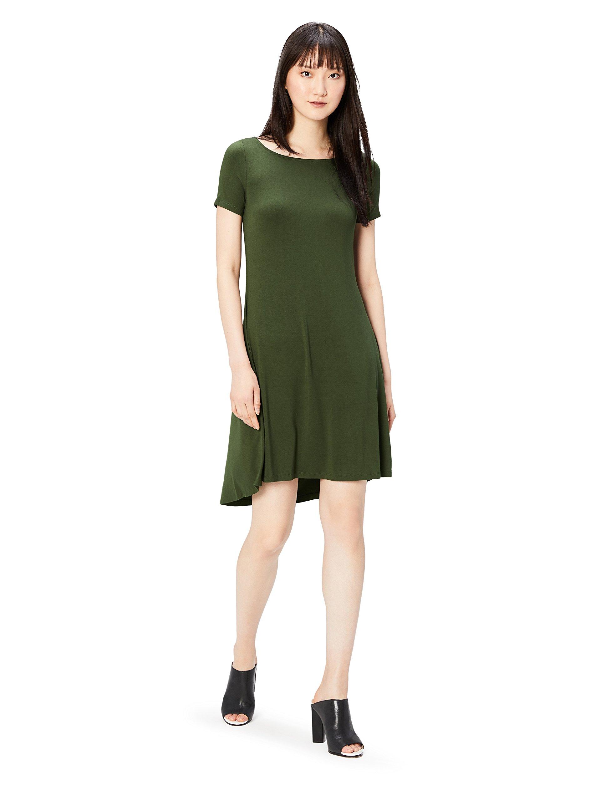 Daily Ritual Women's Standard Jersey Short-Sleeve Bateau Neck Dress, Forest Green, Small
