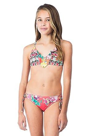 3c56a02cf334e Amazon.com: Hobie Girls Petal Pusher Ruffle Triangle with Faux Tie ...