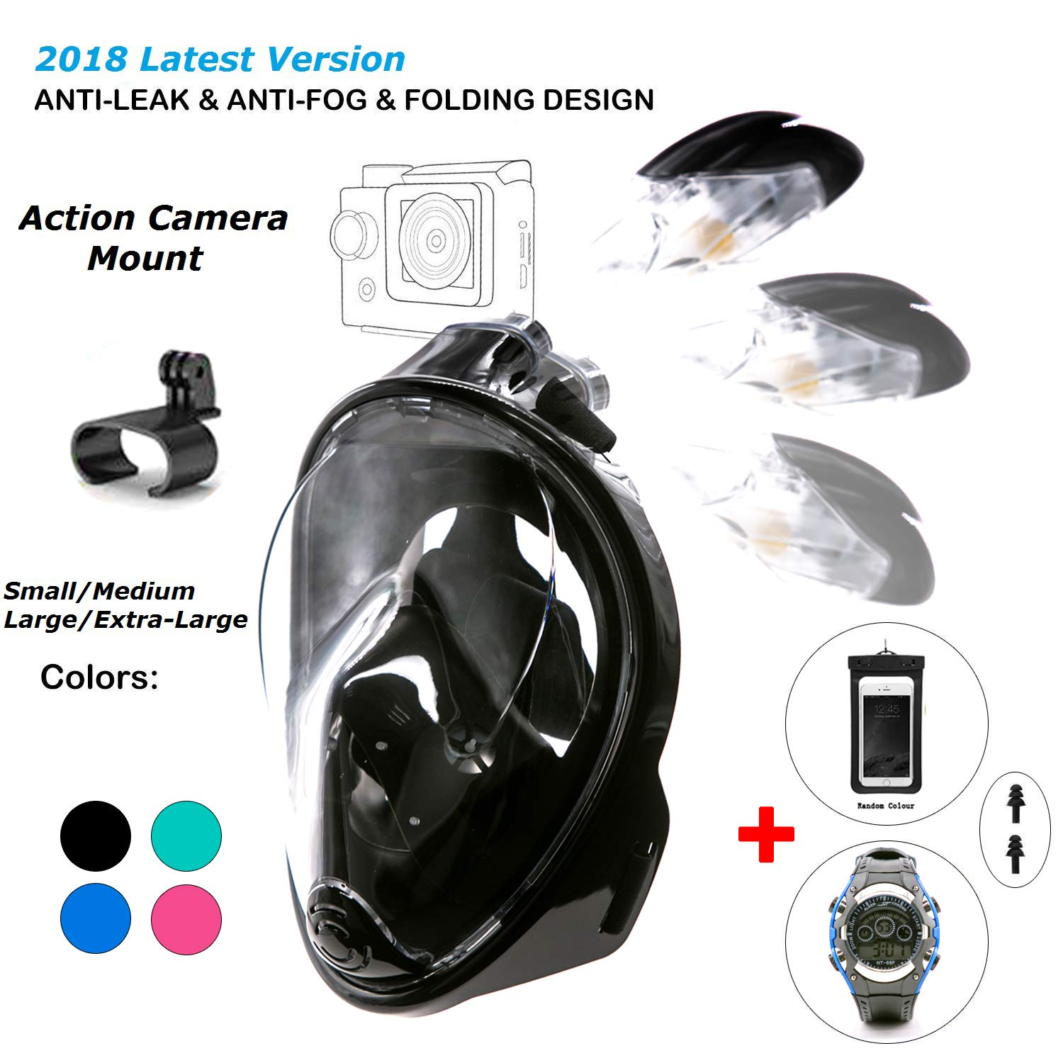 180° Snorkel Mask View for Adults and Youth. Full Face Free Breathing Folding Design.[Free Bonuses] Cell Phone Universal Waterproof Case and 30m Waterproof Watch (Black, Small/Medium)