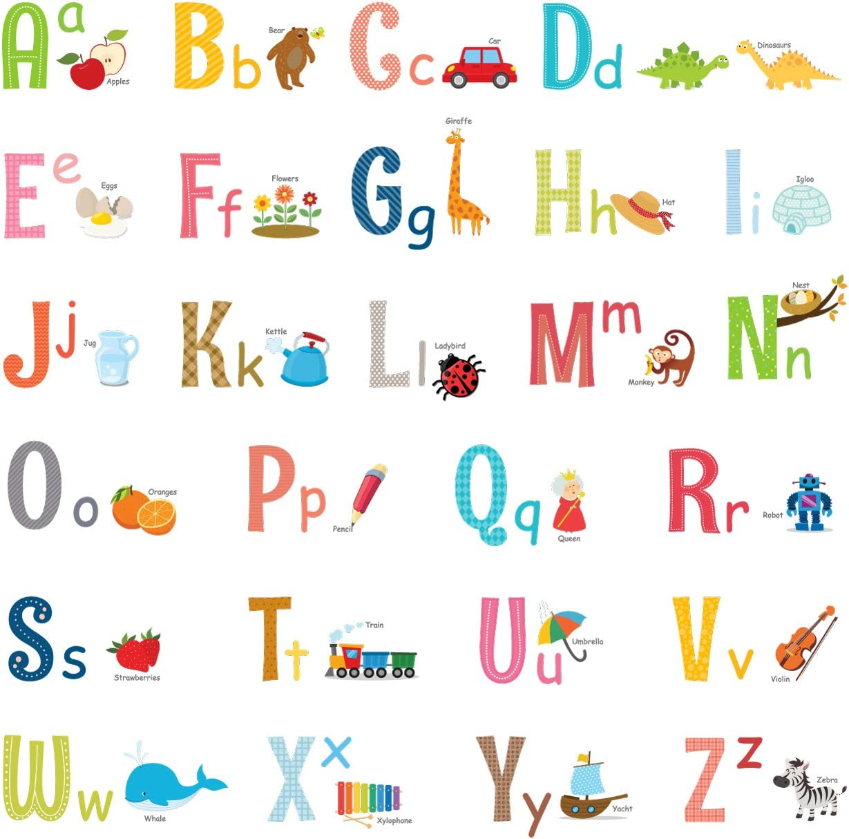 DECOWALL DW-1701S Alphabet ABC with Pictures Kids Wall Stickers Wall Decals Peel and Stick Removable Wall Stickers for Kids Nursery Bedroom Living Room (Medium) décor