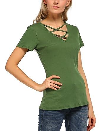 4288b29c04d Urban GoCo Women s Casual Tops Criss Cross Front V-neck Short Sleeve Ribbed  T Shirt