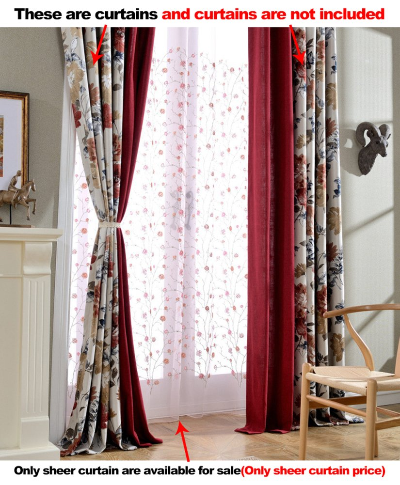Aside Bside Tiny Rose Knitting Rod Pockets Sheer Curtains Lodge Style Home Treatment Voile Draperies For Child Room Kitchen and Sitting Room (1 Panel, W 52 x L 63 inch, Pink)