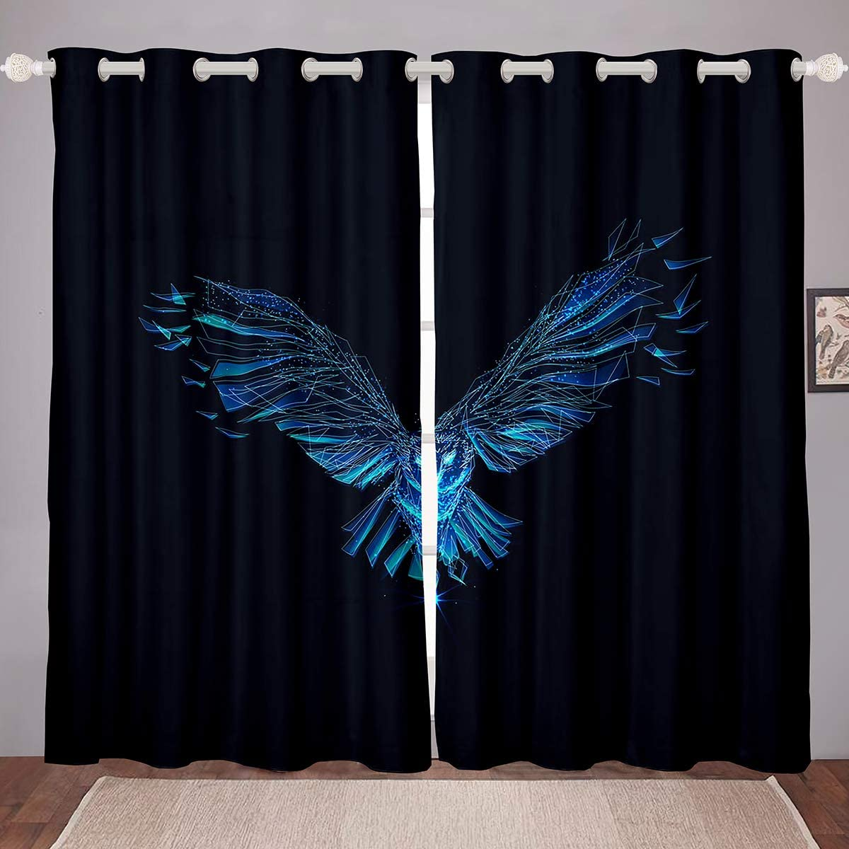 "Adults Teal Eagle Curtain Panels Flying Owl Window Drapes Wild Bird Animal Window Curtains For Kids Teen Boys Young Man Science Technology Art Window Treatments 42W""x84L"" Living Room Bedroom Decor"