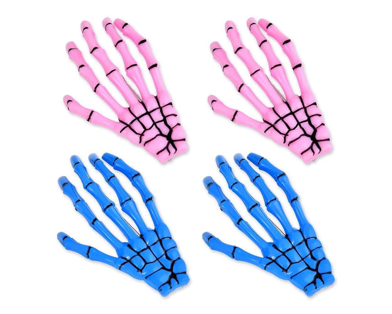 DSstyles Pince à cheveux 2 paires Hands Bone Halloween Pince à cheveux Accessoires squelettes pour les filles - blanc et noir