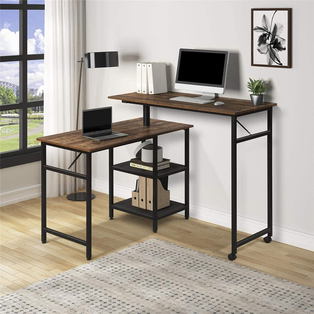 43.3Lx43.3''D Home Office L Shaped Rotating Standing Computer Desk, Industrial 360 Degrees Free Rotating Corner Computer Desk with Storage Shelf for Small Spaces (Brown)