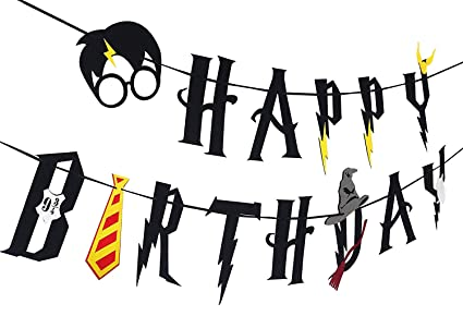 Harry Potter Party Supplies – Happy Birthday Banner Felt Garland Party Decoration