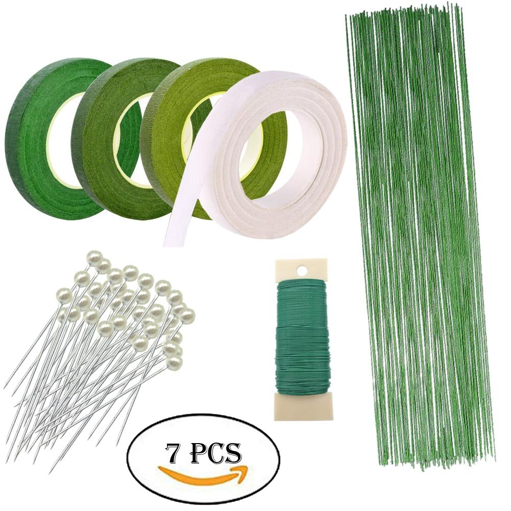 Woohome Floral Arrangement Tool Kit Floral Tape Stem Wrap 1/2 Inch, 26 Gauge Green Floral Stem Wire, 22 Gauge Green Paddle Wire and 100 PCS Ball Head Pins for Wedding Bouquet DIY