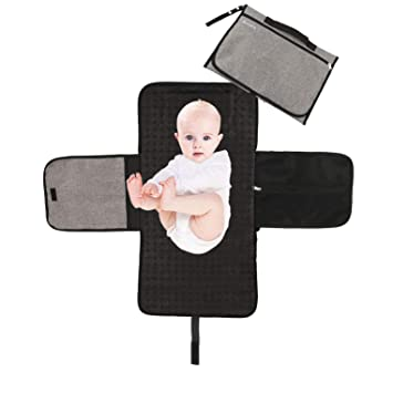 895a88d1fd9b Bemece Portable Nappy Changing Mat, Foldable Waterproof Diaper Changing Pad  with Head Cushion for Travel