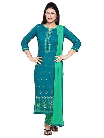 Amazon Com Women S Cotton Dark Green Green Salwar Suit Dress