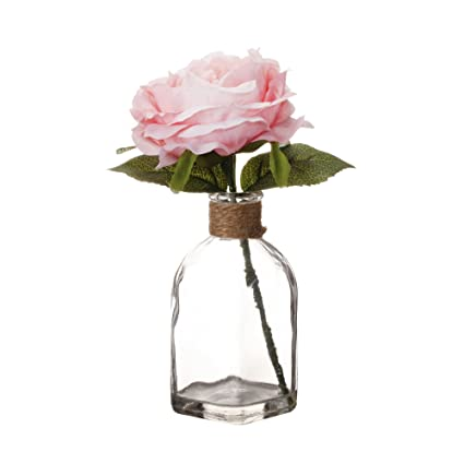 Amazon v more square clear glass bottle flower vase wrapped v more square clear glass bottle flower vase wrapped with jute rope pink artificial silk mightylinksfo