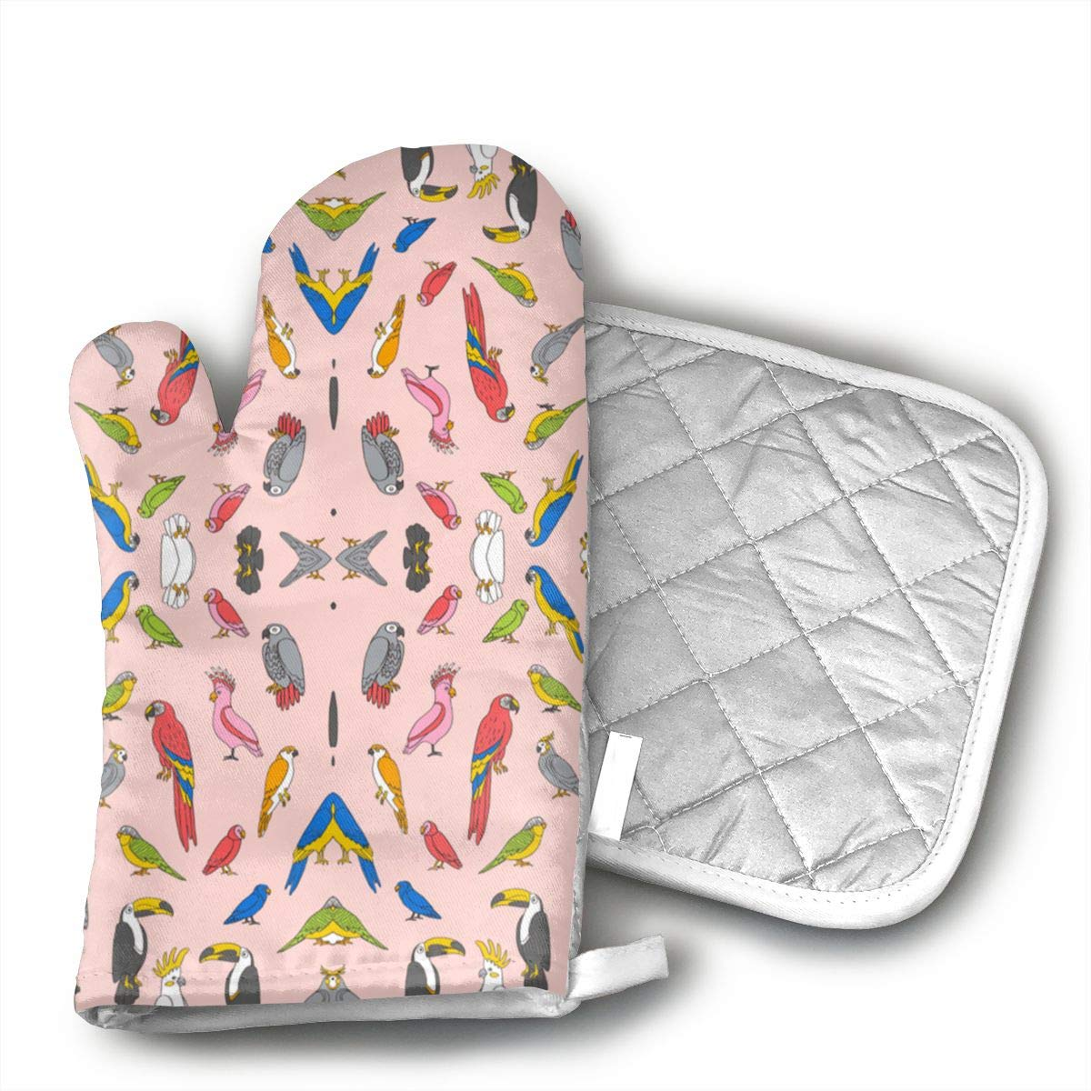 Wiqo9 Arrot Tropical Rainforest Bird Fabric Parrots Blu Oven Mitts and Pot Holders Kitchen Mitten Cooking Gloves,Cooking, Baking, BBQ.