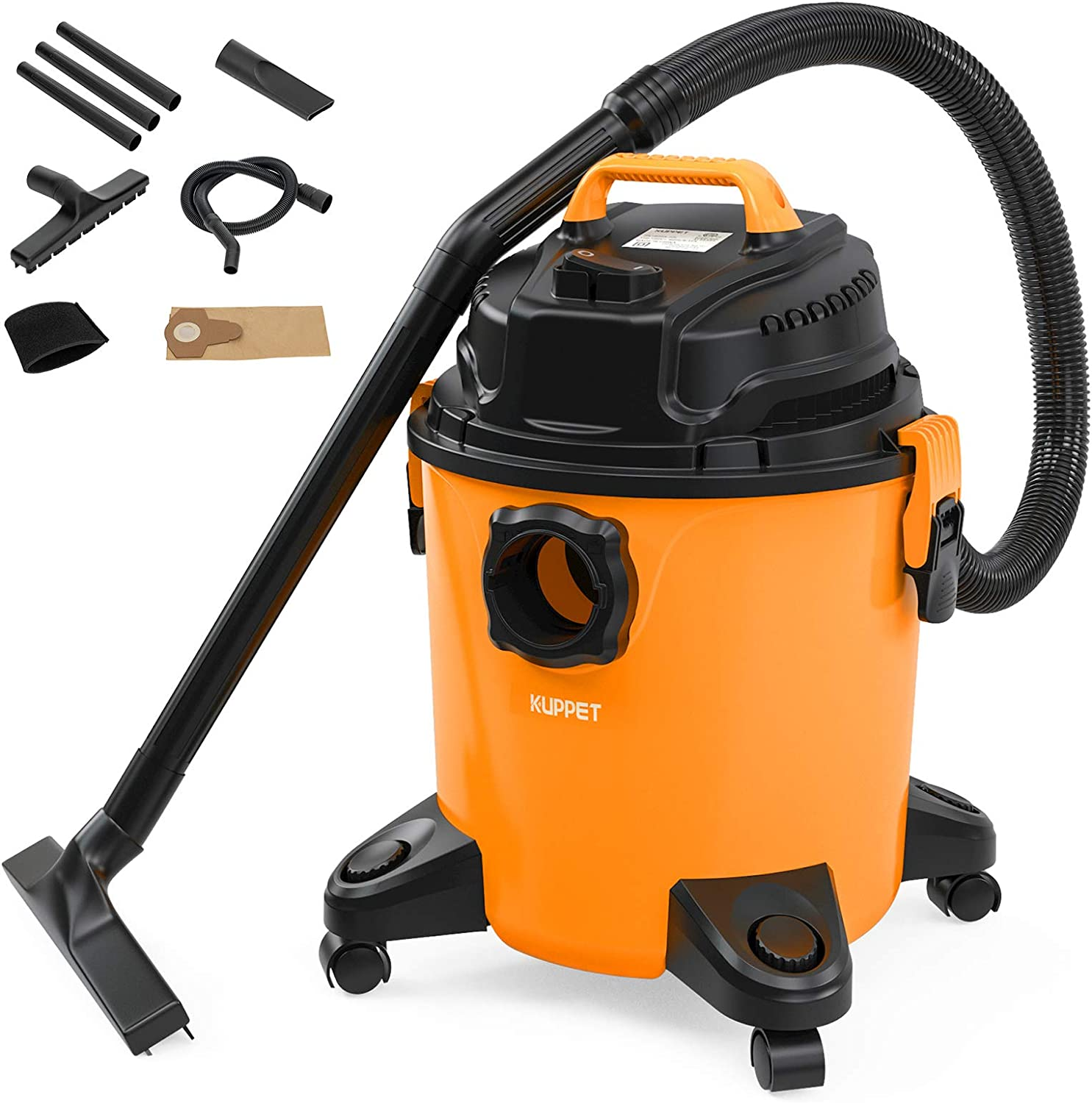 KUPPET 3-in-1 Shop Vac, Wet/Dry Vacuum Cleaner, Shop Vacuum with Attachments, 5 Gallon, 5.5 Peak HP, 16Kpa Powerful Suction, 20L Capacity Orange