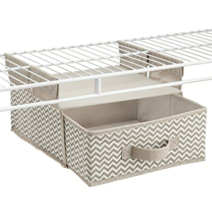 InterDesign Chevron Soft Closet Storage   Hanging Shelf With Drawer For Wire  Shelving Systems, Taupe