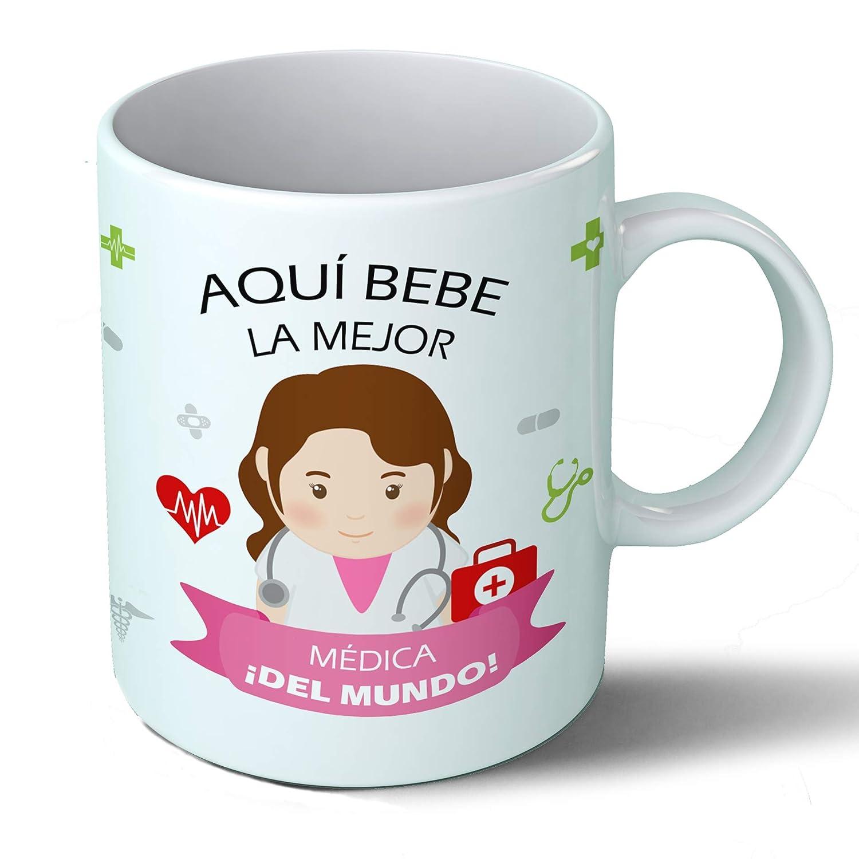 Planetacase Taza Desayuno Aquí Bebe la Mejor médica del Mundo Regalo Original Doctor Ceramica 330 ML: Amazon.es: Hogar
