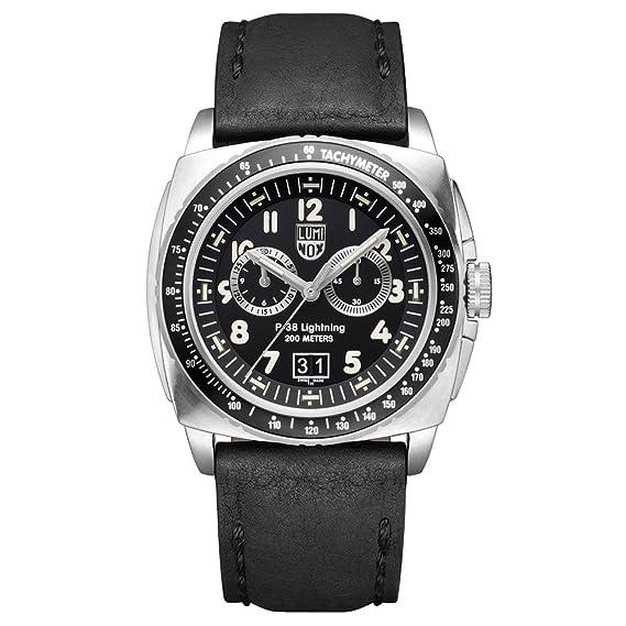 Luminox P-38 LIGHTNING XA.9441 Reloj de pulsera Cuarzo Hombre correa de Cuero Negro: Amazon.es: Relojes