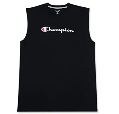 a2986a5b1db5 Champion Big and Tall Mens Jersey Muscle Tee with Script Logo Black XL Tall