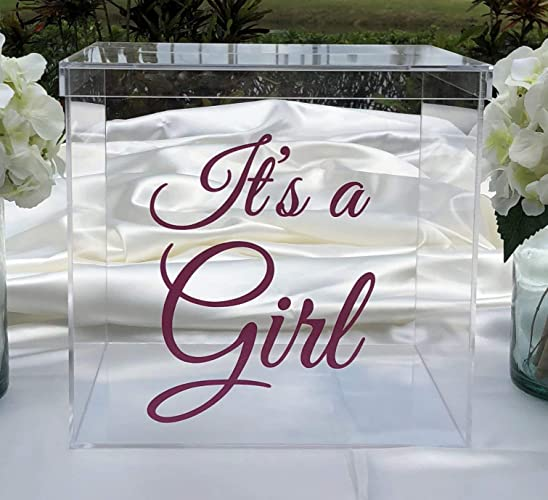 Amazon com: It's a Girl Acrylic Card Box - Pink Sparkle