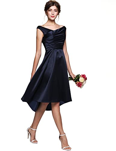 ANGVNS Women's Vintage Sleeveless A Line Satin Bridesmaid Dresses Short Prom Gown