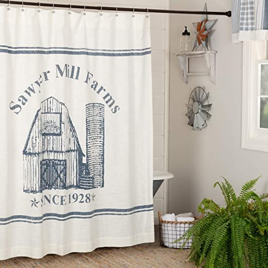 SAWYER MILL CHARCOAL WINDMILL  SHOWER CURTAIN 72X72 Country Farmhouse