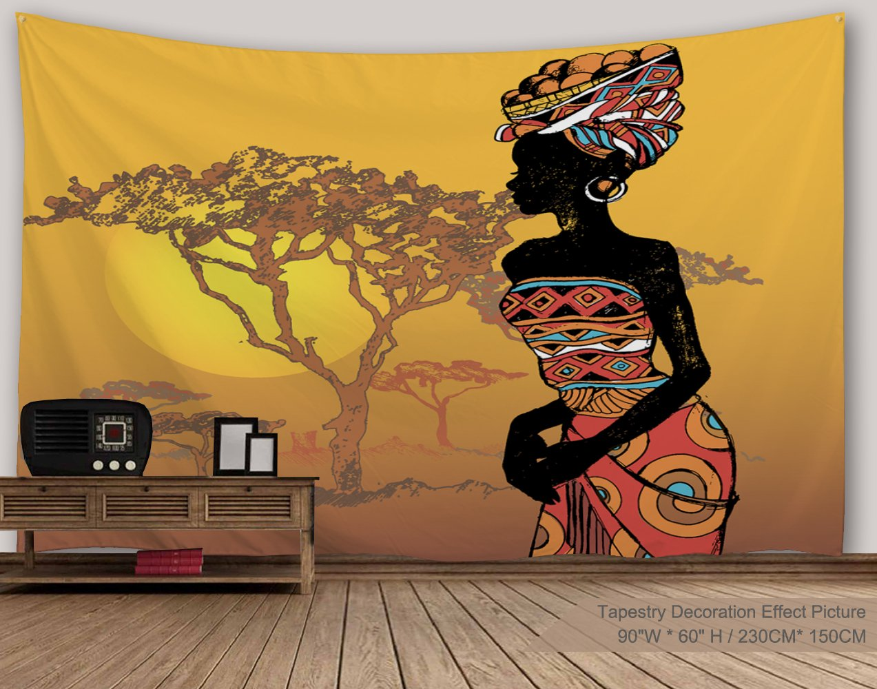 XINYI Home Wall Hanging Nature Art Polyester Fabric African Woman Theme Tapestry, Wall Decor For Dorm Room, Bedroom, Living Room, Nail Included - 90'' W x 60'' L (230cmx150cm) - Woman Wilderness