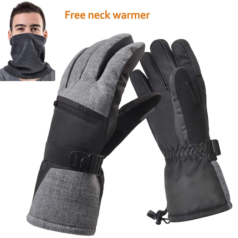 Waterproof Ski Gloves, Winter Warm 3M Insulation