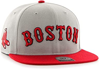 Gorra plana gris snapback con logo lateral de MLB Boston Red Sox ...