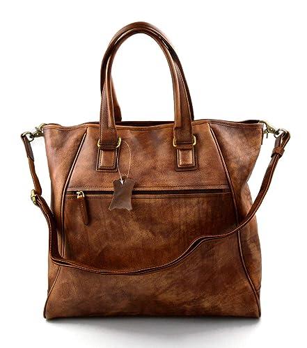 Borsa pelle donna a spalla e a mano con tracolla pelle lavato borsa donna  vintage shopper bag b7ba5f9b97b