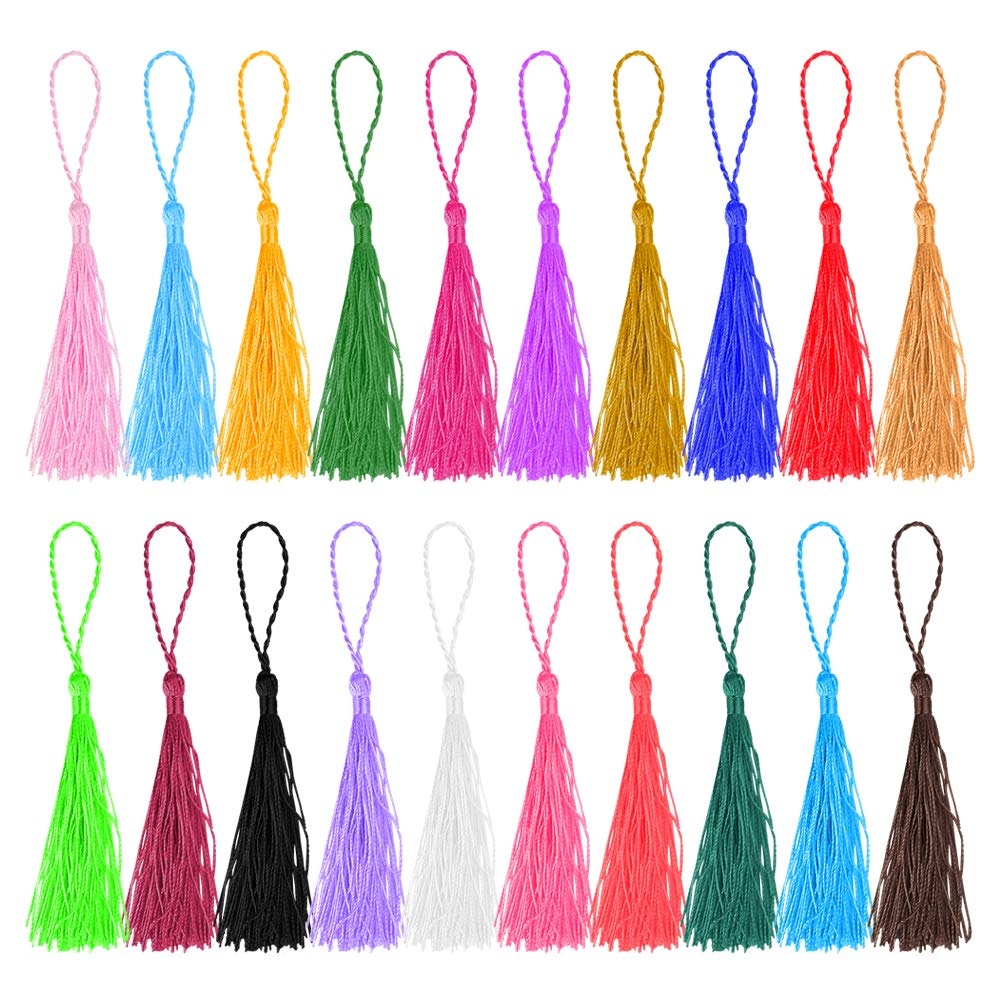 Mini Tassels, SUMERSHA 200pcs 13cm/5 Inch Silky Tassels with Loops andmade Soft Craft Tassel for DIY Projects, Jewelry Making, Art Craft, Bookmarks, Christmas Decoration 20 Colors 10pcs Each Color