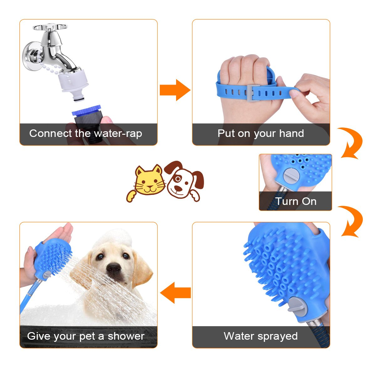 Ducking Pet Shower Sprayer with Brush, Multi-Functional Pet Bathing Tool with ON/OFF Switch for Dog, Cat, Horse Outdoor Grooming, Adjustable handheld Massage with 8 Foot Hose and 2 Hose Adapte by Ducking (Image #3)