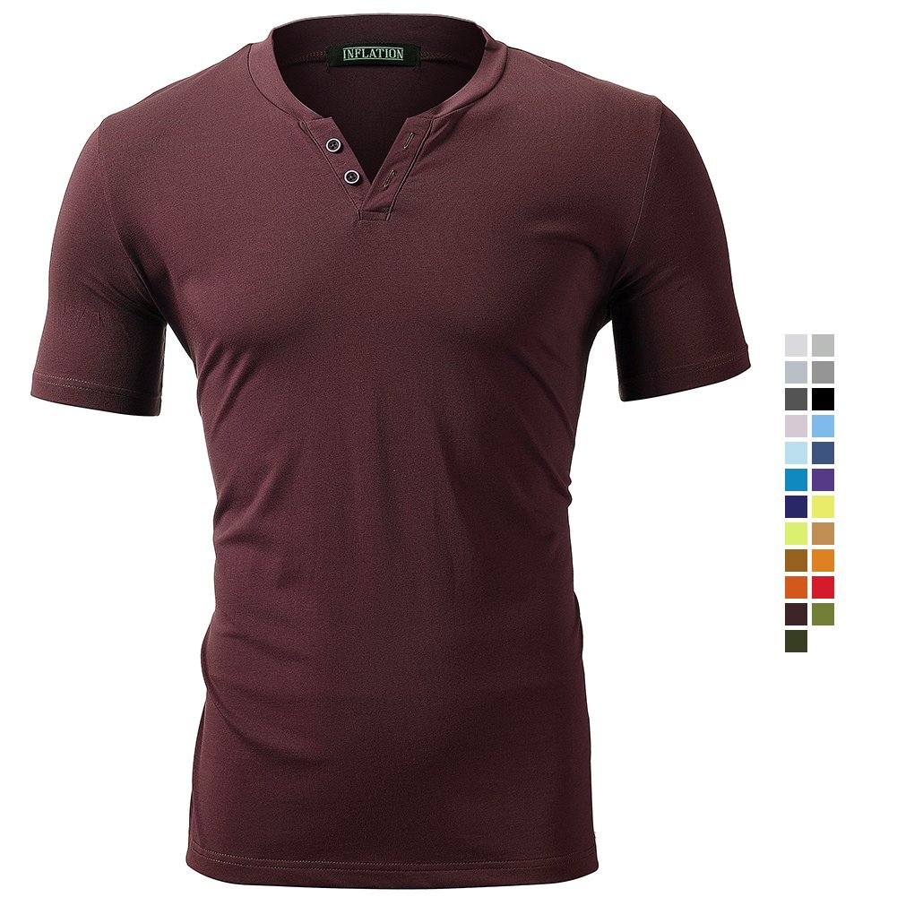Harrms Men's Classic Basic Short Sleeve T-Shirts with Neck Summer Tops Burgundy Size XL