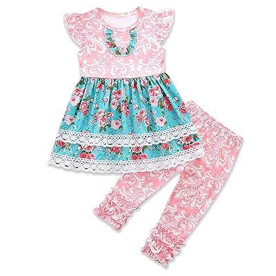 2pcs/Set Kid Girl Regular Lower Hem Ruffles Dress Shirt Tops + Floral Pants