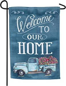 Floral Truck Welcome Garden Suede Flag - 13 x 1 x 18 Inches