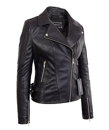 ed1e668b134e Womens Black Asymmetrical Quilted Bomber Lambskin Real Leather Jacket  (X-Small, Black)