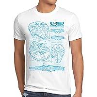 style3 Halcón Milenario Cianotipo Camiseta para Hombre T-Shirt