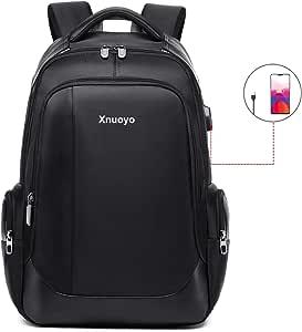 Xnuoyo Mochilas Portatil 15.6 Pulgadas, Resistente al Agua Mochila con Puerto de USB para Ordenador, Multifuncional Mochila de Gran Capacidad para Hombre Mujer Oficina Trabajo Diario Negocio (Negro)