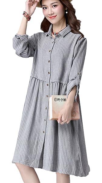 Vogue of Eden mujeres Loose rayas Button Down Ropa de maternidad vestido gris gris Talla única