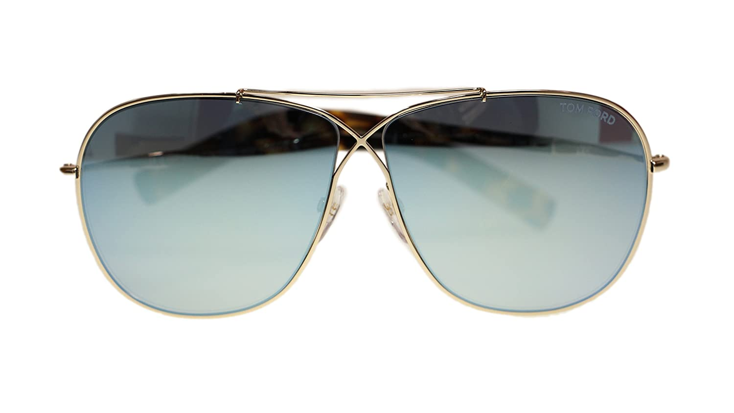 Tom Ford Metal Mens Sunglasses FT0393 28X Rose Gold Blue Lens 61mm Authentic