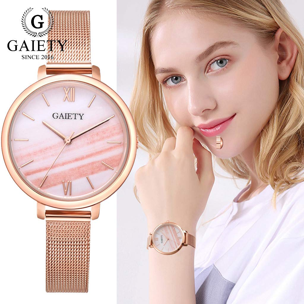 Amazon.com: Reloj de DAMA WoCoo Fashion Aurora Analog Quartz Wrist Watch with Stainless Steel Mesh Strap Watches Gifts (D): Kitchen & Dining