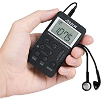 JESSON Personal AM FM Pocket Radio Portable Digital Tuning Stereo Radio with Earphone and Rechargeable Battery for Walk