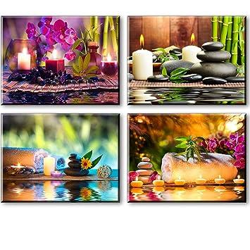Piy 4x Impression Contemporain Zen sur Toile SPA Yoga Peinture en ...