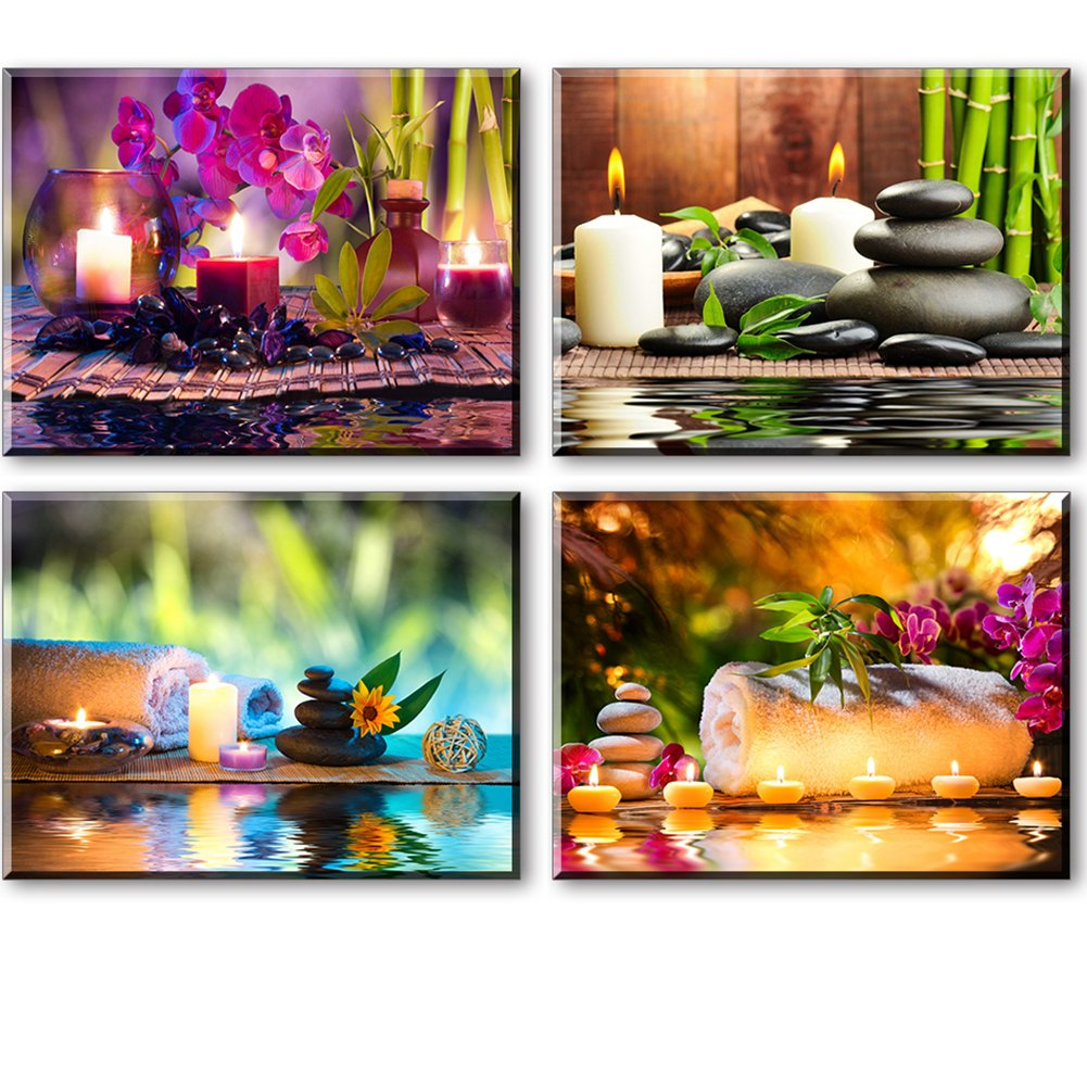 Zen Canvas Wall Art, Spa Treatment Picture with Bamboo Stone Paintings (Waterproof, Hook Mounted, 1'' Thick)