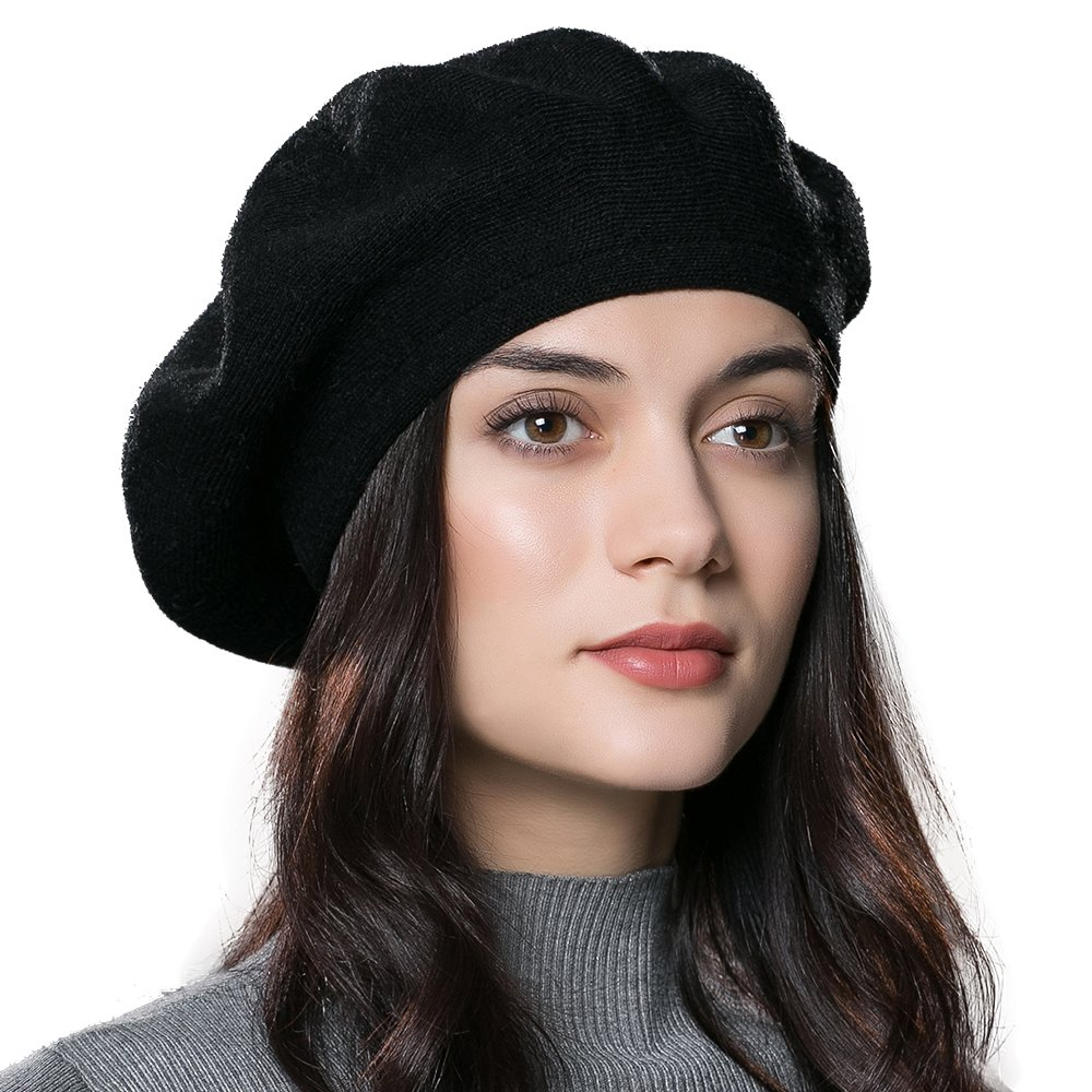 ENJOYFUR Women Beret Hat Wool Knitted Cap Autumn Winter Hat (Black) at  Amazon Women s Clothing store  d2b1eccd552
