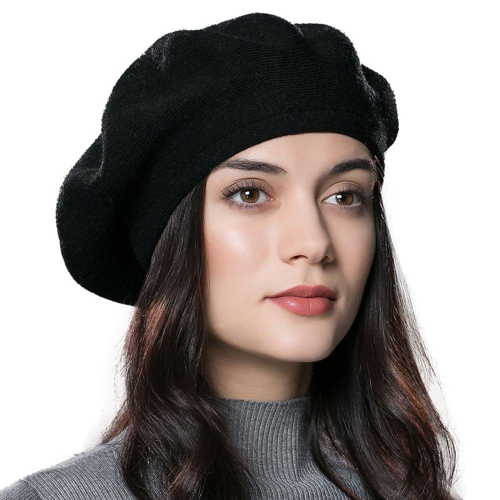 f0e424fbab9 ENJOYFUR Women Beret Hat Wool Knitted Cap Autumn Winter Hat (Black) at  Amazon Women s Clothing store