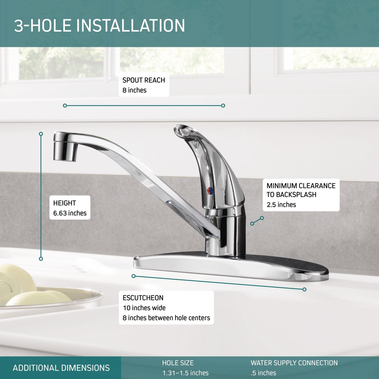 Peerless P110lf Classic Single Handle Kitchen Faucet Chrome Touch Parts Diagram For Gourmet 150 450 On Sink Faucets
