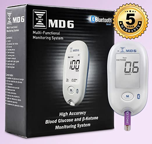 Bruno MD6 Blood Ketone & Glucose Monitoring System | Track Your Ketones & Ketogenic Diet Progress | Ketosis Test Kit with Lancing Device, 10 Blood ...
