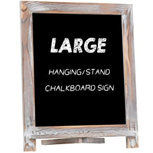 "Rustic Chalkboard Sign, NEARPOW 15""x12"" Tabletop Stand and Wall Hanging Display, Pine Wood Frame with Smooth Magnetic Surface Chalk Board Easel for Home Decoration, Wedding, Kitchen, Menu(Whitewashed)"