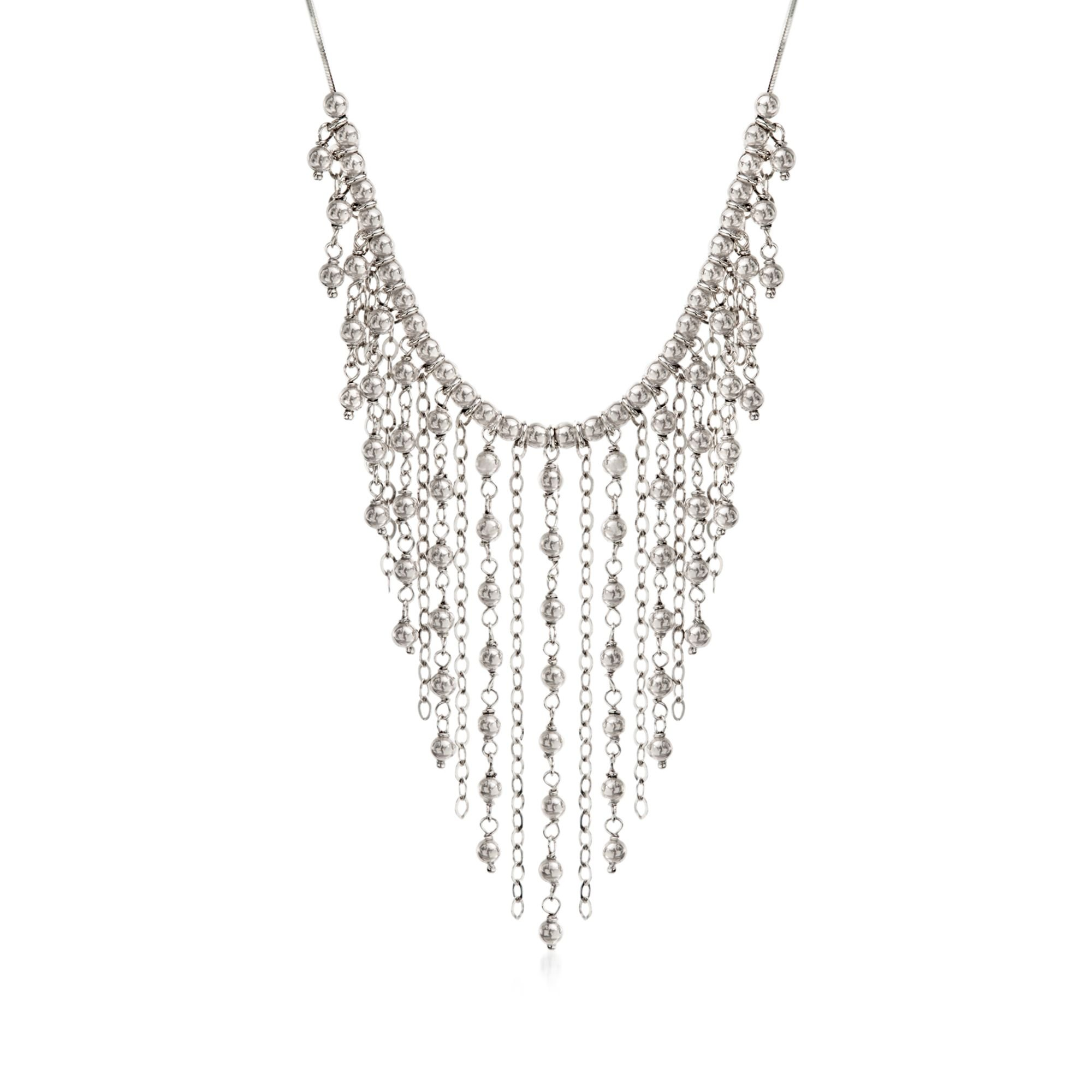 Ross-Simons Italian Sterling Silver Bead Fringe Bib Necklace. 18''