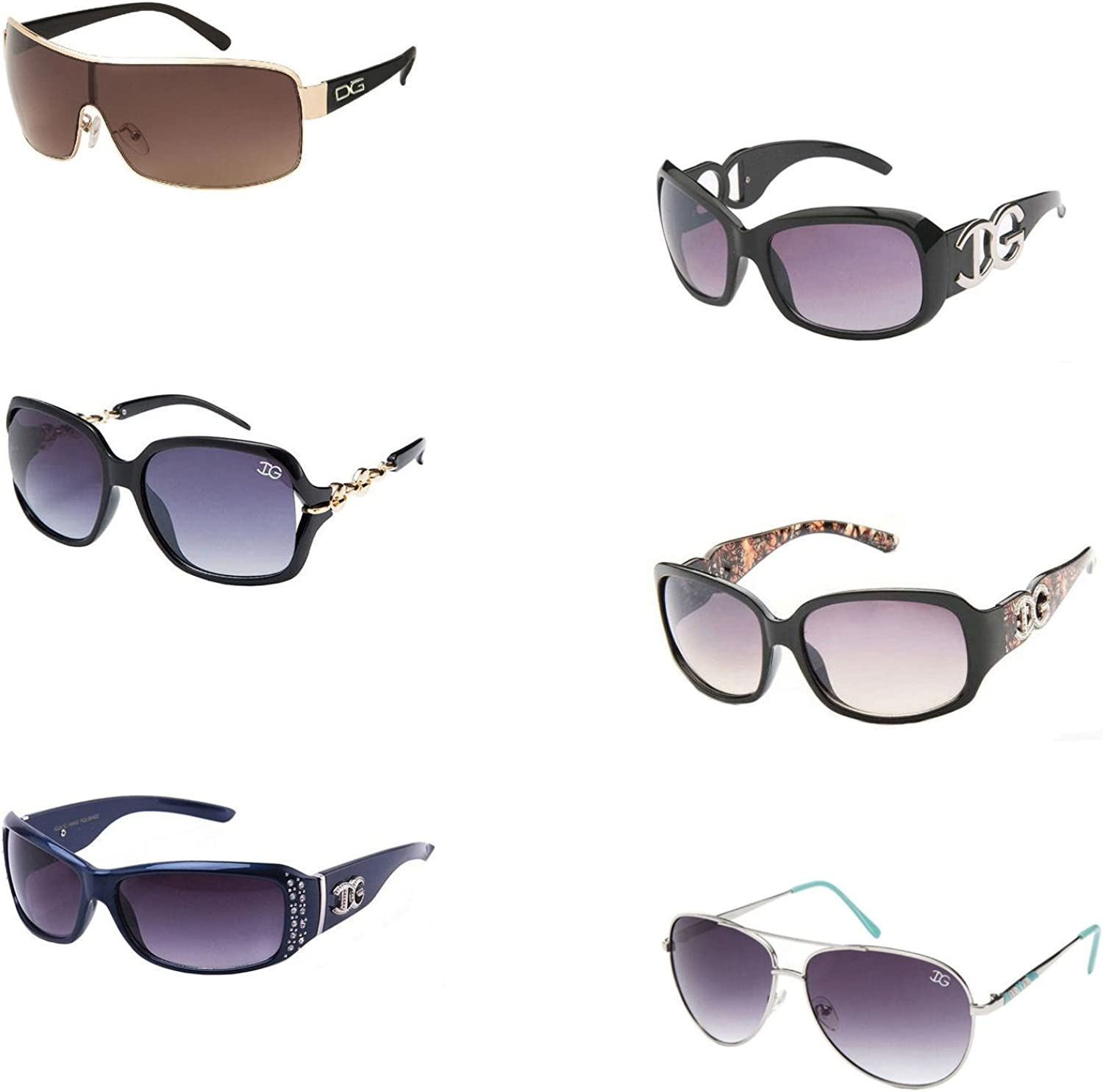 Amazon Com 6 Pair Of High Fashion Sunglasses With Soft Pouches Clothing