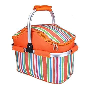 Panier à pique-nique sur toile isotherme Sac pliable Sac fourre-tout pour le camping Orange yaOiUR