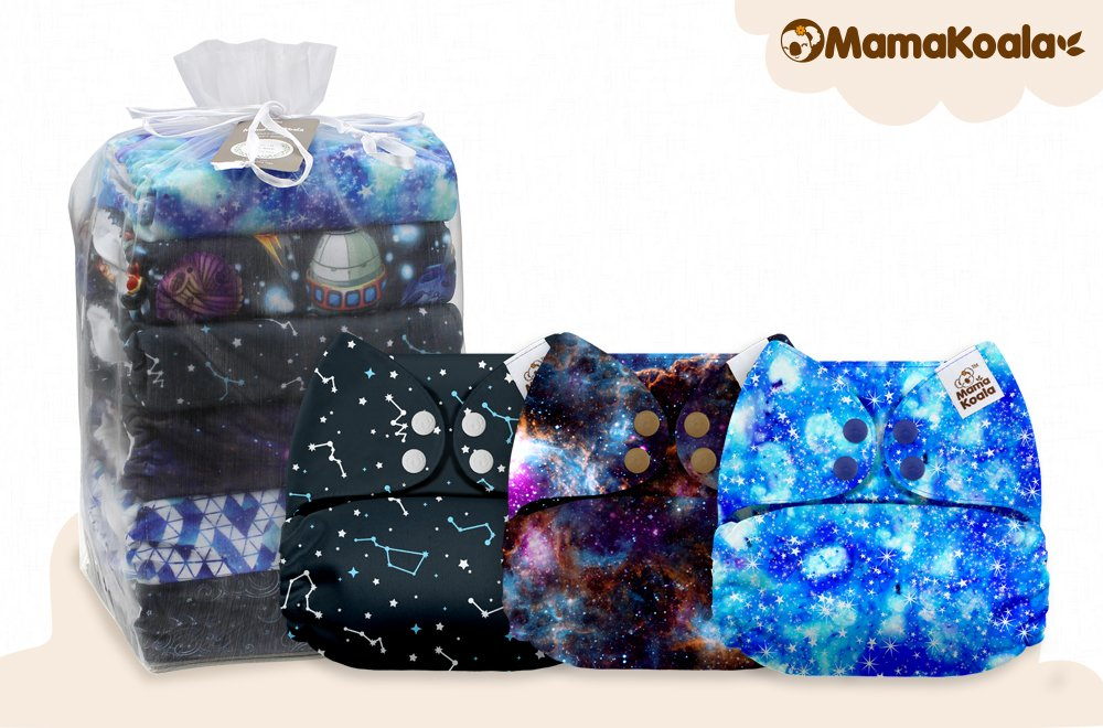 6 Pack with 6 One Size Microfiber Inserts Mama Koala One Size Baby Washable Reusable Pocket Cloth Diapers Hearty